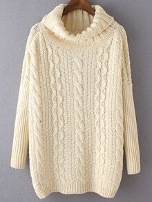 Beige High Neck Cable Knit Loose Sweater