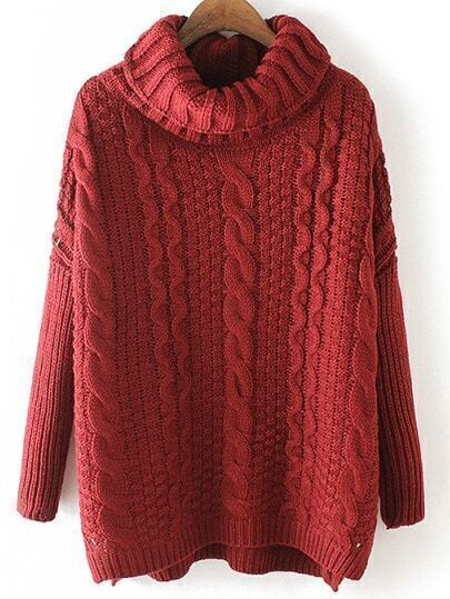 Burgundy High Neck Cable Knit Loose Sweater