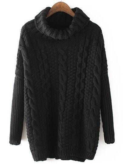 Black High Neck Cable Knit Loose Sweater