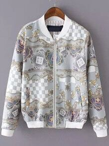 Grey Stand Collar Floral Pockets Jacket