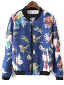 Blue Stand Collar Floral Pockets Jacket