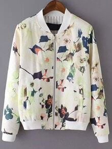 White Stand Collar Floral Pockets Jacket