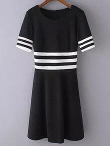 Black White Short Sleeve Striped Slim Dress