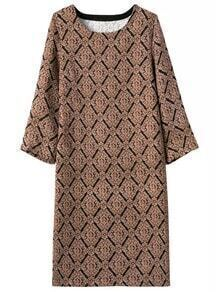 Black Khaki Round Neck Diamond Patterned Dress