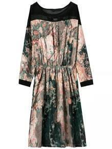 Colour Round Neck Landscape Print Dress