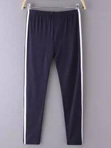 Navy Elastic Waist Slim Pant