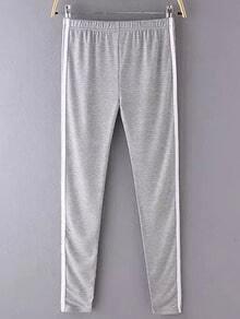 Grey Elastic Waist Slim Pant