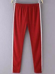 Red Elastic Waist Slim Pant