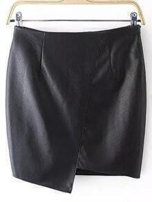 Black Asymmetrical Bodycon PU Skirt