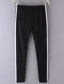 Black Elastic Waist Slim Pant