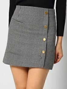 Black White Houndstooth Buttons Skirt