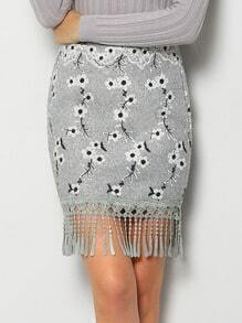 Grey Embroidered Tassel Bodycon Skirt