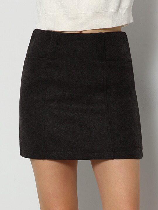 grey a line skirt shein sheinside