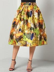 Colour High Waist Floral Flare Skirt