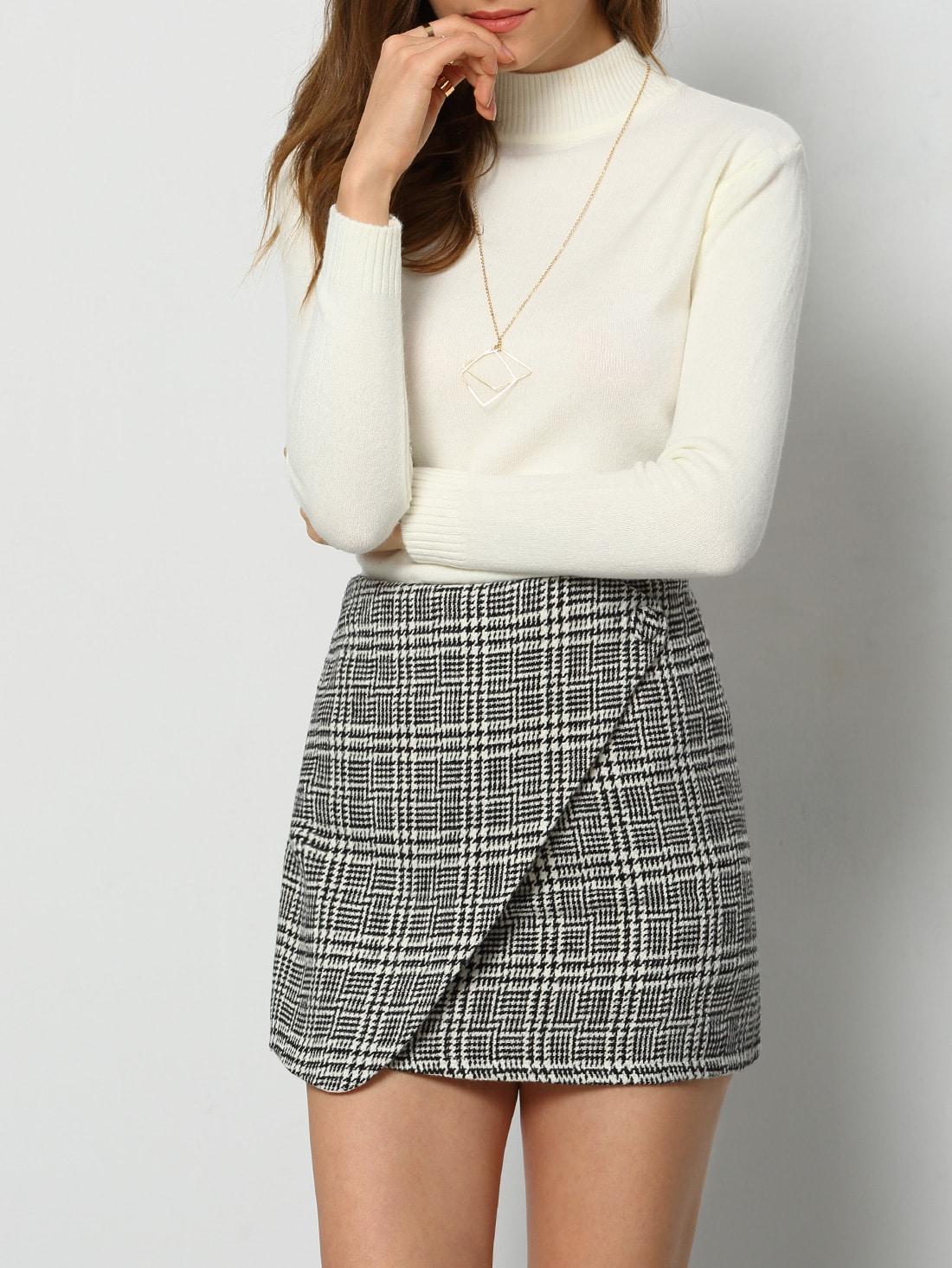 Black White Houndstooth Skirt -SheIn(Sheinside)