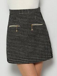 Black Zipper Houndstooth Skirt
