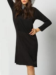 Black Faux Fur Hooded Cable Patterned Dress