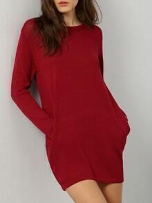 Red Round Neck Pockets Sweater Dress