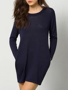 Navy Round Neck Pockets Sweater Dress