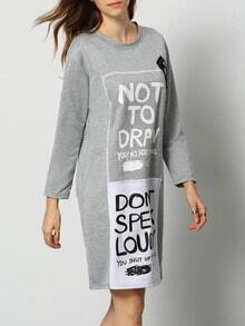 Grey Round Neck Letters Print Straight Dress
