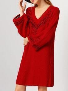 Red V Neck Long Sleeve Embroidered Loose Dress