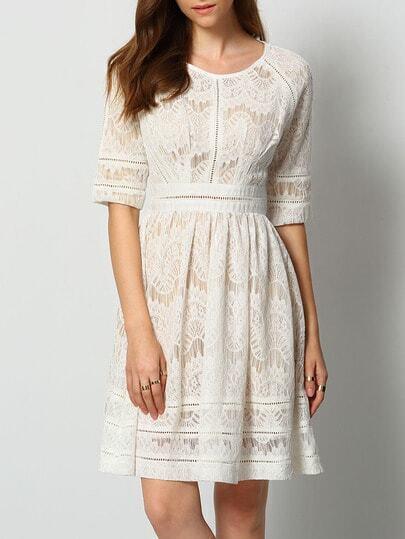 White Round Neck Half Sleeve Lace Dress