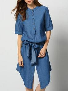 Blue Short Sleeve Tie-Waist Buttons Denim Dress