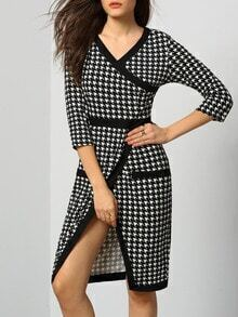 Black White V Neck Cross Front Houndstooth Dress