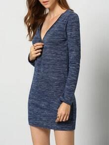 Blue V Neck Zipper Slim Dress