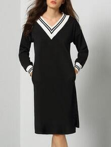 Black V Neck Long Sleeve Striped Sweater Dress
