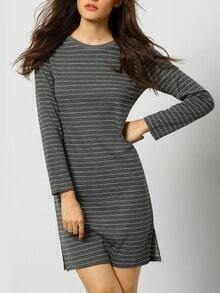 Grey Round Neck Striped Slim Dress