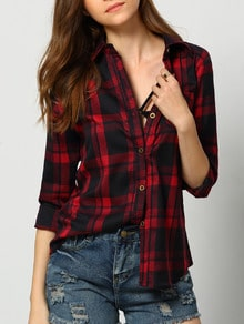 Red Black Lapel Buttons Plaid Pocket Blouse