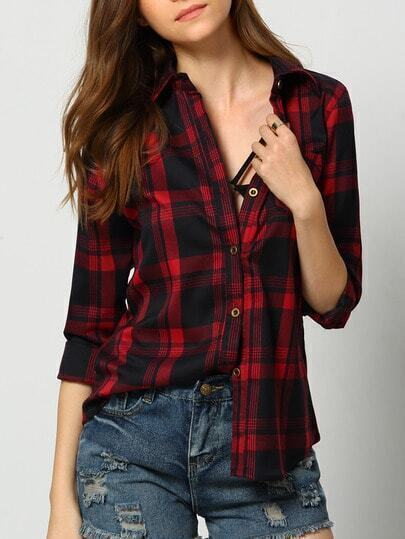 Red Black Lapel Buttons Plaid Pocket Blouse pictures