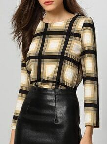 Khaki Black Round Neck Plaid Crop Blouse