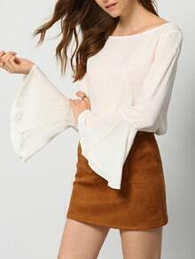 White Bell Sleeve Hollow Lace Back Blouse