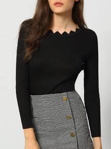 Black Scalloped Collar Slim Knitwear