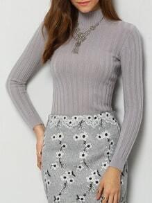 Grey High Neck Vertical Stripe Skinny Knitwear