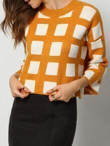 Yellow White Round Neck Plaid Loose Crop Sweater