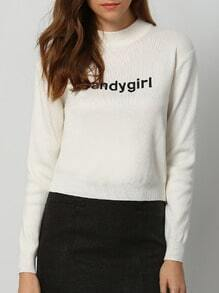 White Round Neck Letters Embroidered Crop Knitwear