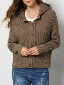 Grey Hooded Long Sleeve Buttons Crop Sweater Coat