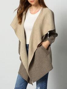 Grey Lapel Pockets Loose Sweater Coat