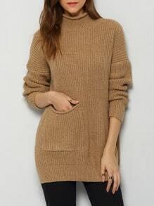 Brown High Neck Pocket Long Sweater