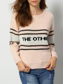 Pink Round Neck Letters Print Striped Sweater
