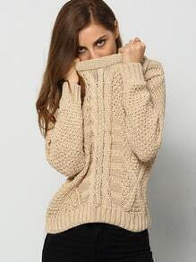 Apricot Round Neck Geometric Patterned Sweater