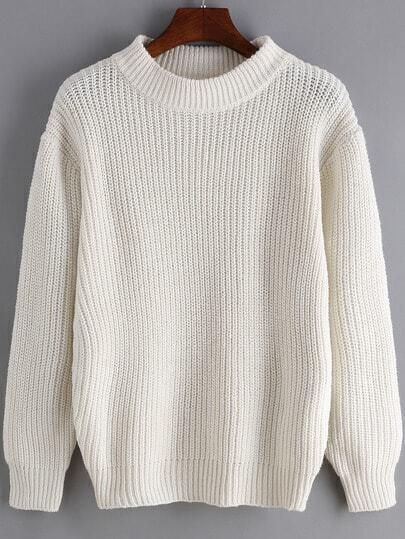 White Round Neck Long Sleeve Loose Sweater