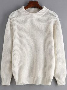 White Round Neck Long Sleeve Loose Sweater