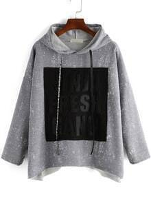 Grey Hooded Letters Print Loose Sweatshirt