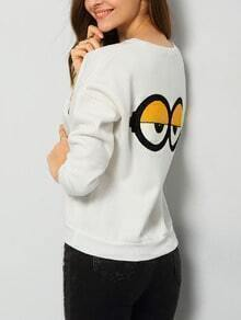 White Round Neck Letters Eyes Patterned Sweatshirt