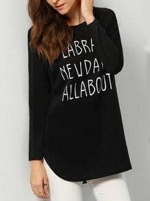 Black Round Neck Letters Print Loose T-Shirt