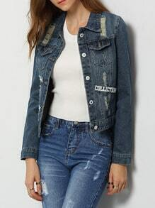 Blue Lapel Ripped Letters Print Denim Coat